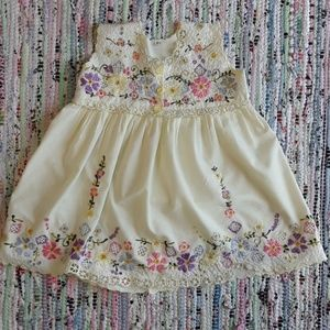 Other - Flower Dress Handmade Embroidered Yellow